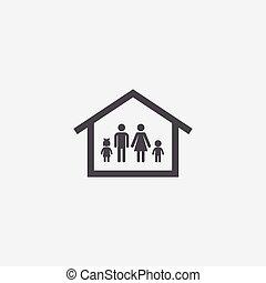 maison, icône, famille