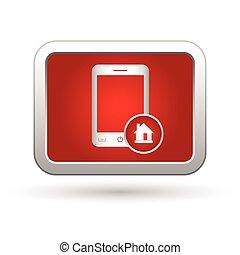 maison, icône, menu, téléphone