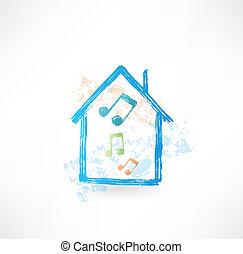 maison, icon., grunge, musique