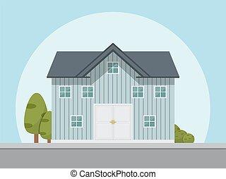 maison, icon., vecteur, illustration, dans, plat, style