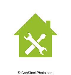 maison, icon., vert, réparation, icône
