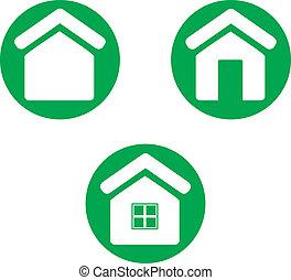 maison, icon., vert