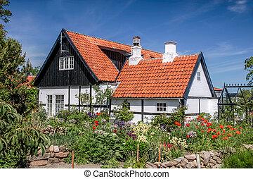 maison, idyllique, bornholm, demi-timbered