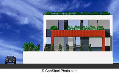 maison, idyllique, moderne, 3d