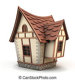 maison, illustration, 3d