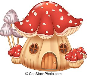 maison, illustration, champignon