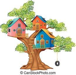 maison, illustration, coloré