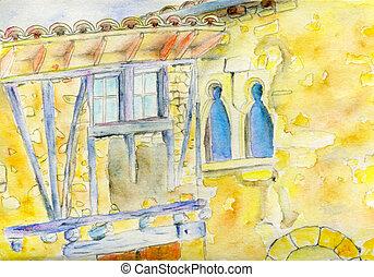 maison, illustration, france, aquarelle, francais, village, dessiné, main