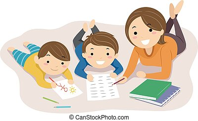 maison, illustration, maman, stickman, gosses, école, lire