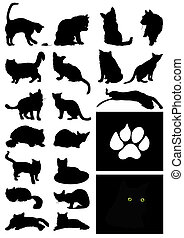 maison, illustration, silhouettes, vecteur, noir, cats.