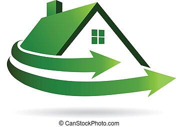 maison, image., vecteur, rénovation, icône
