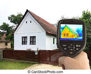 maison, image, vieux, thermique