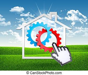 maison, informatique, engrenages, icône, main