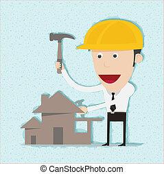maison, ingénieur, construire, homme affaires