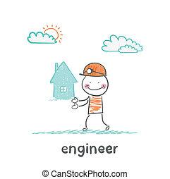 maison, ingénieur, garde