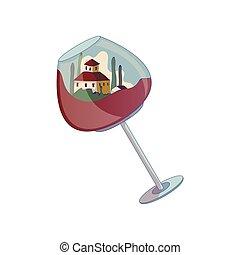 maison, intérieur, illustration, arrière-plan., vecteur, verre., vin blanc