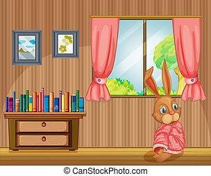 maison, intérieur, sentiment, froid, lapin