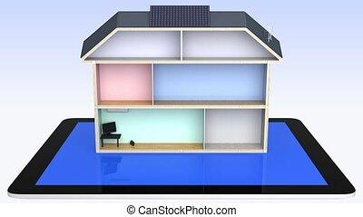 maison, intelligent, pc tablette