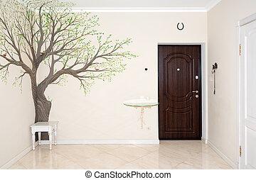 Couloir, entrée, escalier, maison, luxe, interior. Beau ...