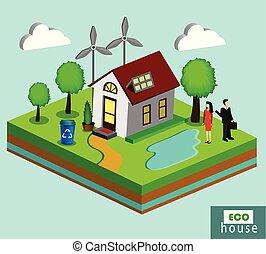 maison, isolé, illustration, vecteur, amical, écologiquement