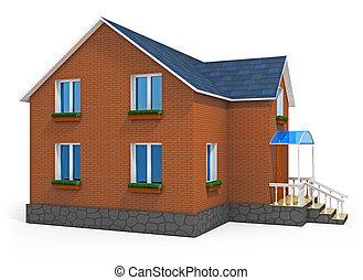 maison, isolé, privé, fond, nouveau, blanc