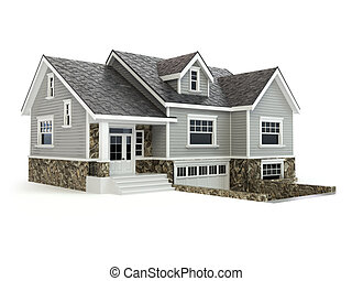 maison, isolé, sur, white., immobiliers, concept.