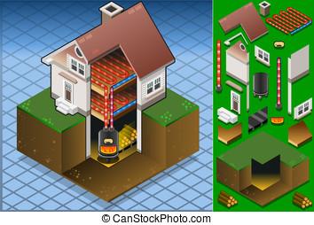 maison, isométrique, bois, mis feu, chaudière