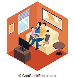 maison, isométrique, conception, famille
