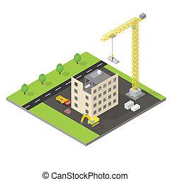 maison, isométrique,  construction, sous