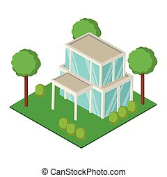 maison, isométrique, jardin