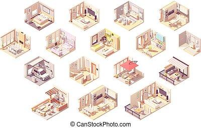 maison, isométrique, vecteur, salles