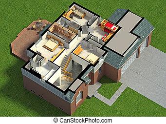 maison, isométrique, vue, meublé