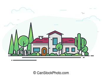 maison, jardin, classique