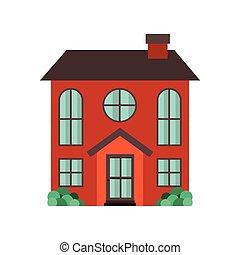 maison, jardin, isolé, icône