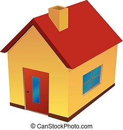 maison, jaune, rouges, toit