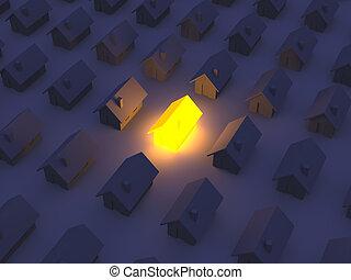maison, jouet, éclairé