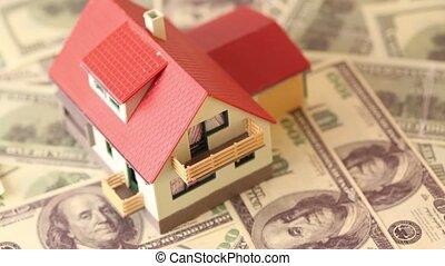 maison jouet, dollars, toit, carrelé, notes, banque, rouges