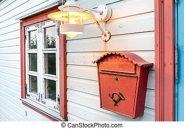 maison, lampe, bois, boîte fenêtre, courrier, blanc