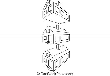 maison, linéaire, architectural, perspective