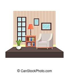 maison, livingroom, endroit, scène