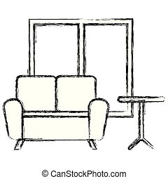 maison, livingroom, scène, icônes