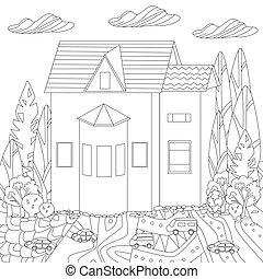 maison, livre coloration, fantaisie, ton