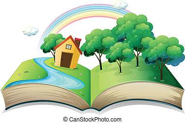maison, livre histoire, forêt