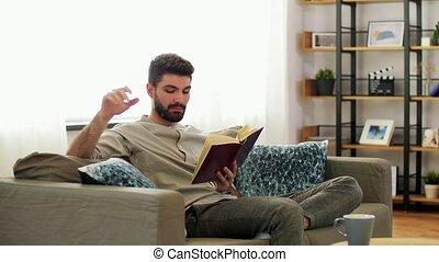 maison, livre, lecture homme