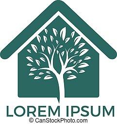maison, logo, arbre, vert, design.