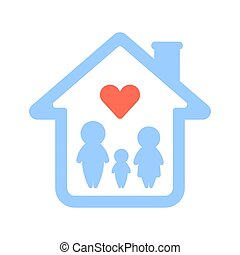 maison, logo., famille
