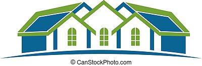 maison, logo., groupe, maisons