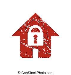 maison, logo, grunge, rouges, serrure