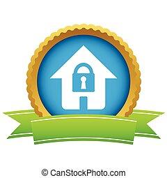 maison, logo, or, serrure