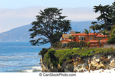 maison, long, californie, luxe, côte